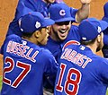 Bryant-Russell-Zobrist celebrate after winning the 2016 World Series (30630045782).jpg