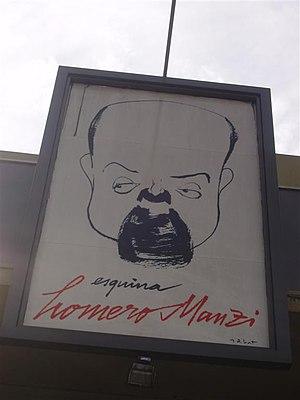 Homero Manzi - Drawing depicting Homero Manzi, at the Esquina Homero Manzi, Boedo neighbourhood.