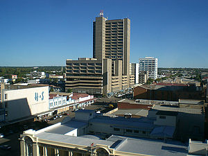 View of Bulawayo's Central Business District (CBD) from Pioneer House by Prince Phumulani Nyoni. The CBD is 5.4 square kilometres and is in a grid pattern with 17 avenues and 11 streets.