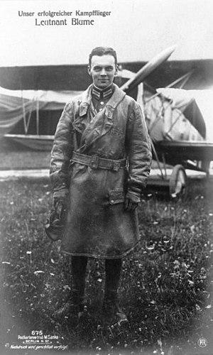 Walter Blume (aircraft designer) - Lieutenant Walter Blume in World War I