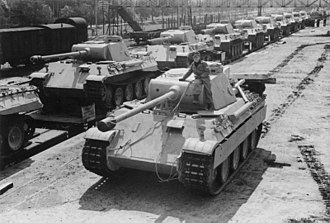 Panther tank - Panther Ausf. D tanks, 1943. The D model can best be recognized by the drum-shaped cupola.