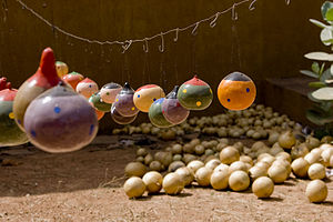 Burkina faso artisan painted gourds