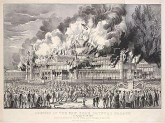 "New York Crystal Palace - ""Burning of the New York Crystal Palace"", c. 1868"
