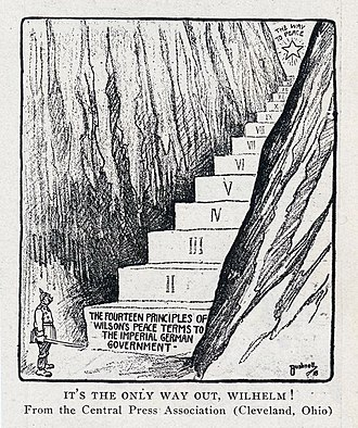 Fourteen Points - Wilson's Fourteen Points as the only way to peace for German government, American political cartoon, 1918.