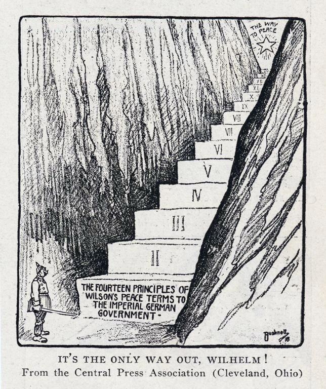 Bushnell cartoon about Kaiser Wilhelm considering Wilson's 14-point plan