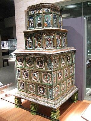Masonry heater - Image: C.1560 Tiled Stove (UBC)