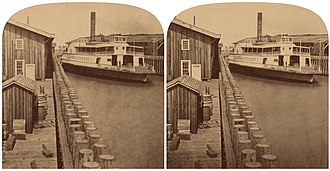 Ferries of San Francisco Bay - Image: C.P.R.R. ferry boat 'El Capitan', at the Terminus, by Thomas Houseworth & Co