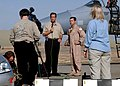 CNN senior Pentagon correspondent Jamie McIntyre prepares to interview US Air Force Capt. Patrick Driscoll.jpg