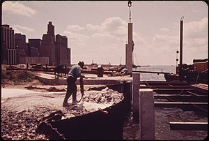 Battery Park City - Construction in May 1973