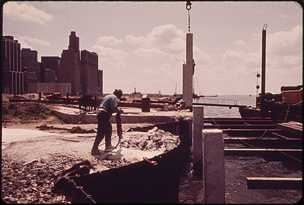 Construction in May 1973 CONSTRUCTION BEGINS ON THE BATTERY PARK DEVELOPMENT ACROSS FROM THE WORLD TRADE BUILDINGS ON THE HUDSON RIVER - NARA - 549309.jpg
