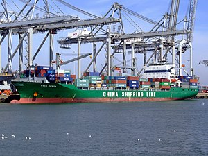 CSCL Genoa IMO 9222091 , at the Amazone harbour, Port of Rotterdam, Holland 08-Apr-2007.jpg