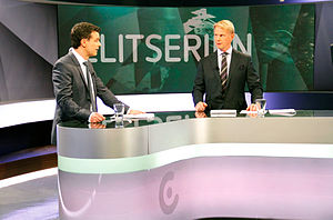 Swedish Hockey League - Hosts Tommy Åström and Niklas Wikegård inside the C More's ice hockey studio.