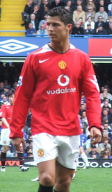 Cristiano Ronaldo as a Manchester United No. 7 in 2007, the same year he won the Player of the Season