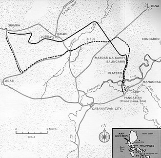 Cabanatuan - Map of the routes taken by the US Rangers in their Raid at Cabanatuan