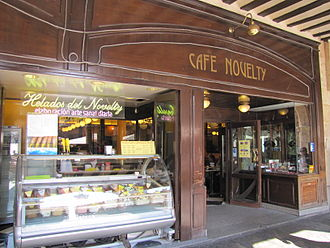 Café Novelty - The entrance to the Café from The Plaza Mayor of Salamanca.