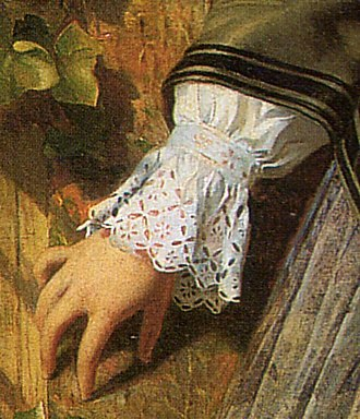 Broderie anglaise - Broderie Anglaise cuff, detail from Broken Vows by Philip Hermogenes Calderon