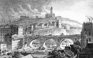 History of the North British Railway (until 1855) - The North Bridge in 1829; the alignment of the North British railway was to be from the bottom left of the image through the left hand (north) arch of the North Bridge