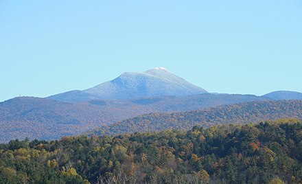 Western face of Camel's Hump Mountain (elevation 4,079 feet (1,243 m)). CamelsHumpFromWest 20151019.jpg