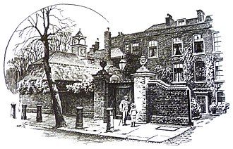 Daphne du Maurier - Cannon Hall, Hampstead, drawn by A.R. Quinton, 1911, where du Maurier spent much of her childhood.