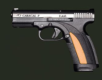 Caracal pistol - Caracal F pistol with orange grip insert