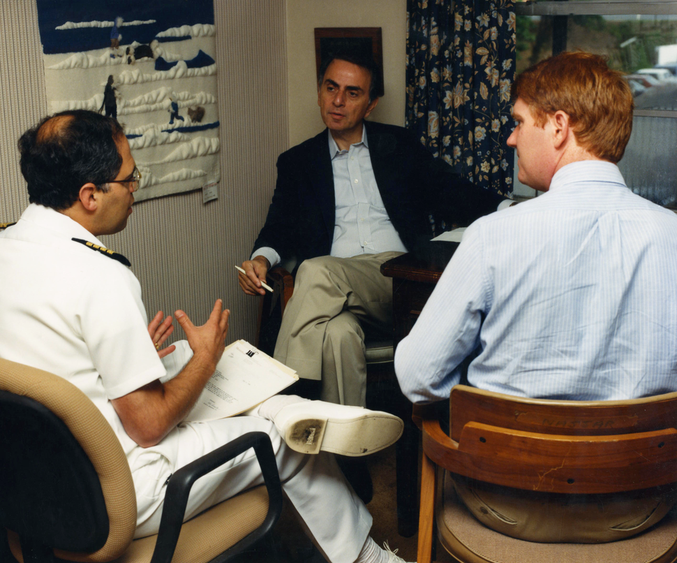 Carl Sagan with two CDC employees