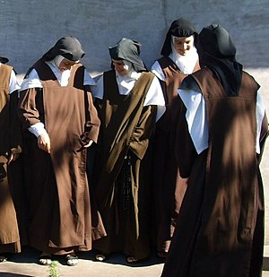 Scapular - Discalced Carmelite nuns from Argentina wearing the Brown Scapular