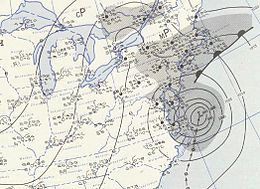 Weather map shows Hurricane Carol off the east coast of Virginia
