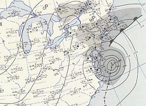 1954 Atlantic hurricane season - Image: Carol 1954 08 31 weather map