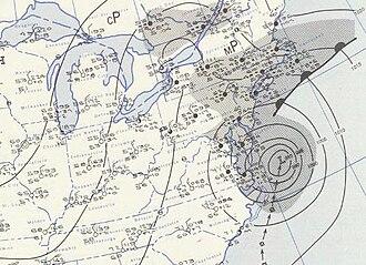 Hurricane Carol - Image: Carol 1954 08 31 weather map
