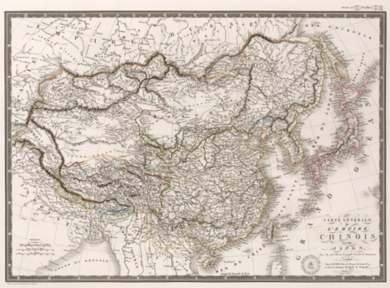 French map from 1821 showing Sakhalin as part of Qing Empire Carte Generale de l'Empire Chinois et du Japon.png