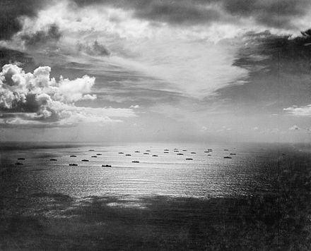 An Allied convoy heads eastward across the Atlantic, bound for Casablanca, in November 1942 Casablanca convoy.jpg