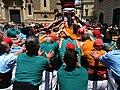 Castellers de Sabadell fent pinya amb els sagals d'Osona juny de 2011.JPG