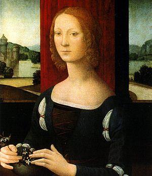 Caterina Sforza - La dama dei gelsomini, by Lorenzo di Credi (Pinacoteca Civica di Forlì), presumed portrait of Caterina Sforza.