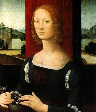 Girolamo Riario - La dama dei gelsomini by Lorenzo di Credi. Portrait of Girolamo's wife Caterina Sforza.