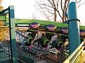 Cedar Point Raptor cars leaving station (4070529657).jpg