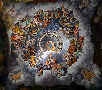 Palazzo del Te - Mannerism's most famous fresco: Giulio Romano's illusionism invents a dome overhead and dissolves the room's architecture in the Fall of the Giants.