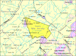 Census Bureau map of Hampton Township, New Jersey
