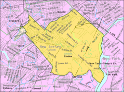 Census Bureau map of Linden, New Jersey