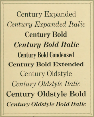 Century type family - Century types from the ATF specimen book, 1912. Century Schoolbook had not yet been released at this time.