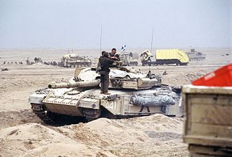 Challenger 1 - Challenger 1 of the Royal Scots Dragoon Guards near Kuwait City during the Gulf War.