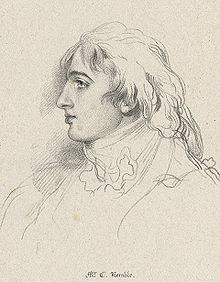 An 1830 drawing of Charles Kemble by J. Dickinson (Source: Wikimedia)