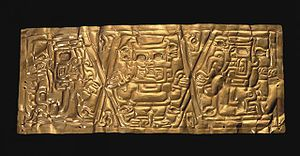 Chavín culture - Chavín Gold Crown Formative Epoch 1200-300 BCE Larco Museum Collection, Lima.