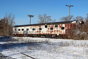 Terror Train - Sleeper used in the film, located along a siding in Sandwich, Massachusetts in 2014