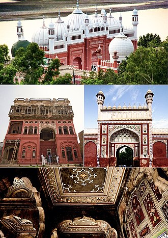 Chiniot - Clockwise from top: Shah Burhan Shrine, exterior and interior views of Chiniot's Shahi Mosque, Omar Hayat Mahal