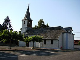 Church and village square in the center of the town