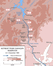 A map showing the withdrawal of a military force south along a river