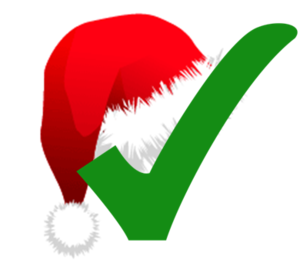 English: Christmas-themed check mark