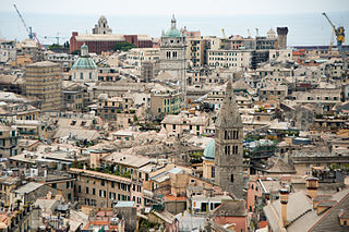 Cityscape of Genoa old quarters, the Port of Genoa (view from above). Genoa, Liguria, Italy, South Europe.jpg