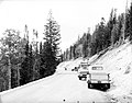 Cleanup work along rim road; limbing trees. Men and trucks on roadside. ; ZION Museum and Archives Image 7504 ; ZION 7504 (e430042dda5041aab2a30086c50ff167).jpg