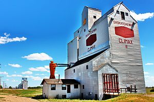 Climax, Saskatchewan - Grain elevators along the railway tracks in Climax.